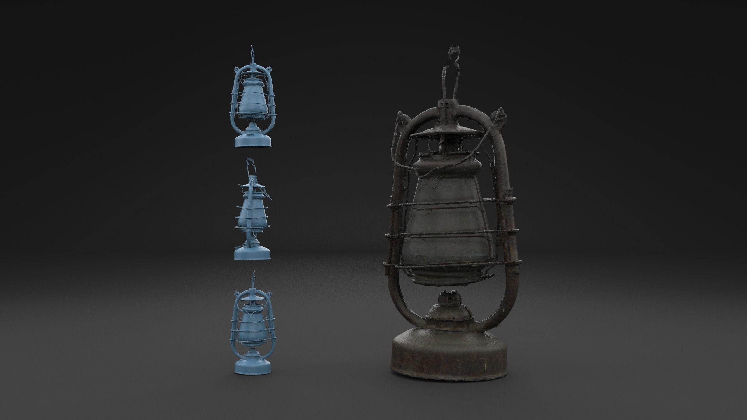 Scanned Old Kerosene Lamp HIGH POLY