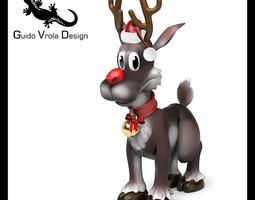 Cartoon style Rudolph reindeer 3D Model