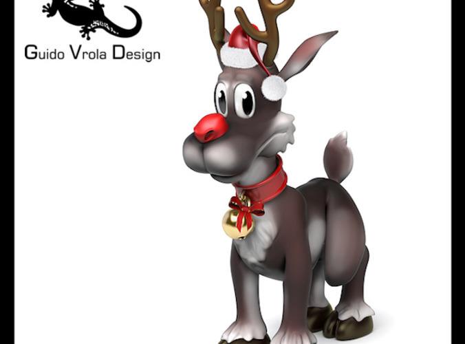 Cartoon style Rudolph reindeer3D model
