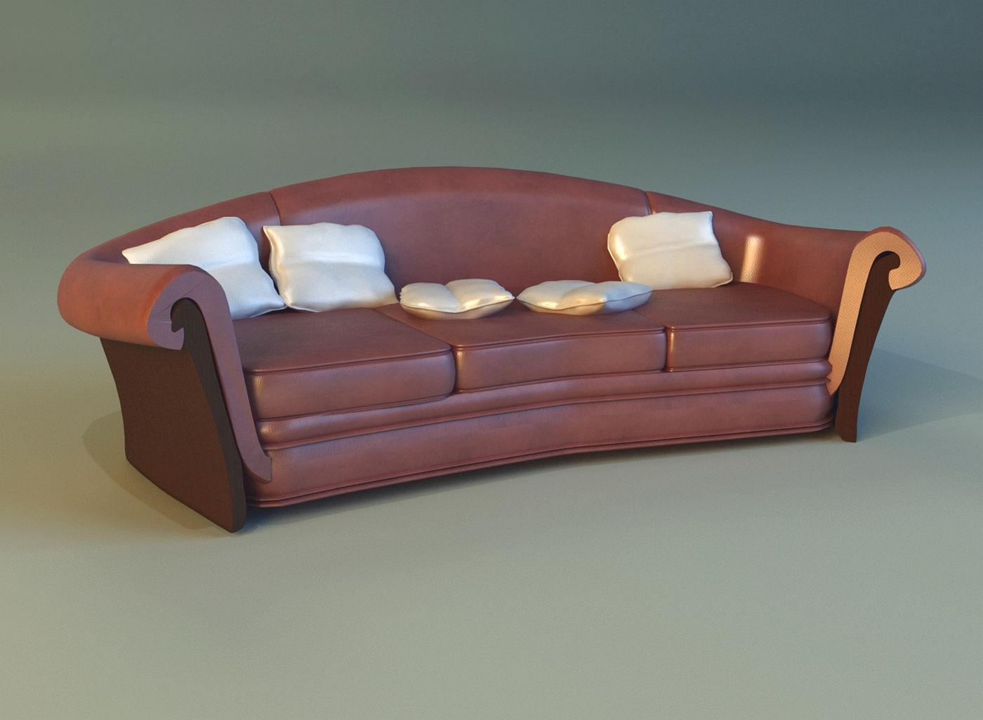 Sofa Luxury Leather Black 3D Model .max .obj .3ds .fbx