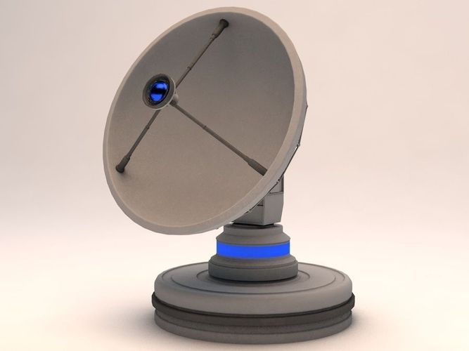 radiotelescope observatory satellite antenna 3d model rigged 3ds fbx c4d dae 1