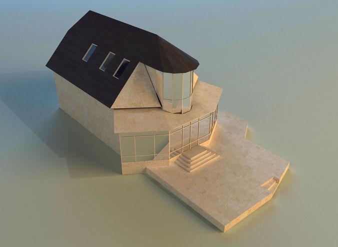 house lowpoly 3d model max obj mtl 3ds fbx 1