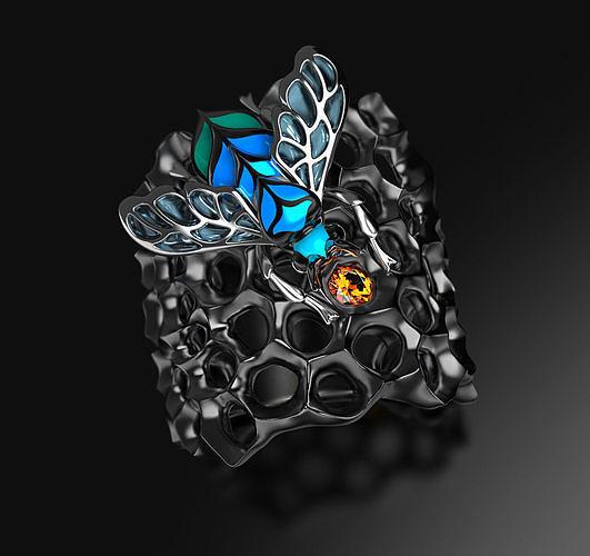 Blue Bee enamel ring