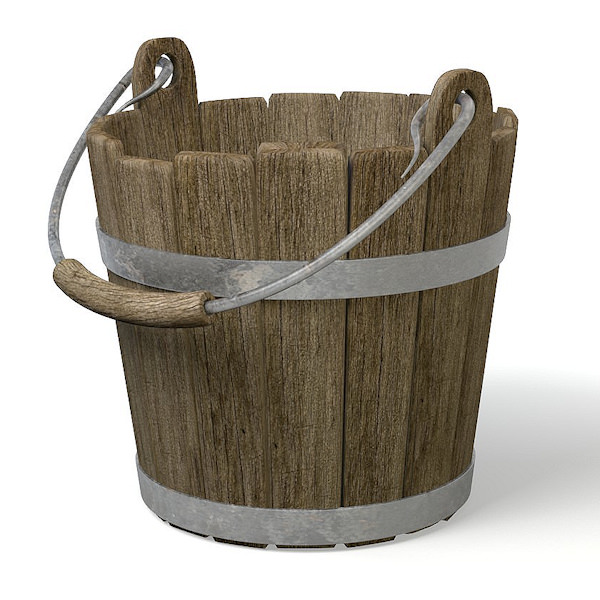 Old wood bucket 3D Model obj 3ds fbx blend CGTrader