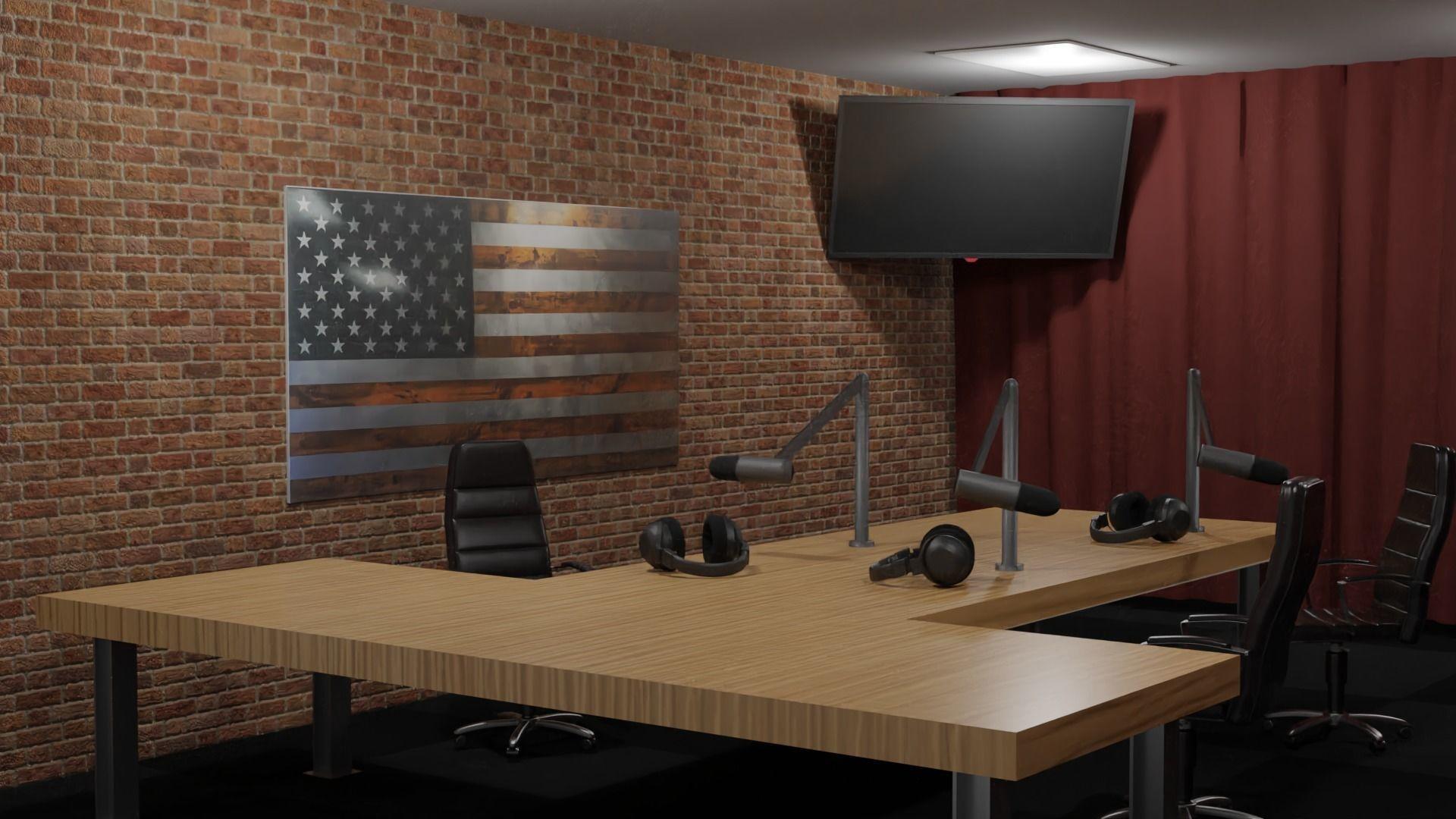 3d Model The Joe Rogan Experience Podcast Studio Vr Ar Low Poly Gltf