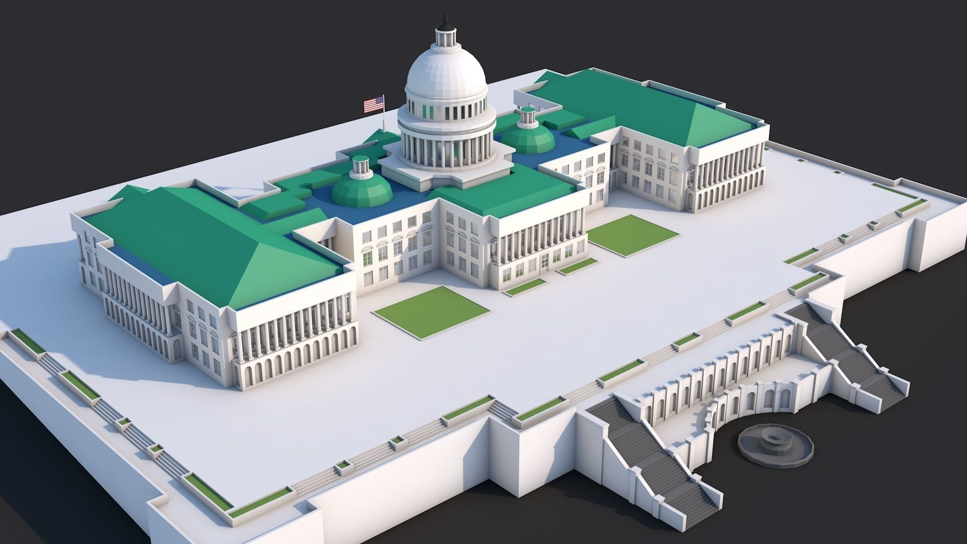 Low Poly United States Capitol Hill Landmark