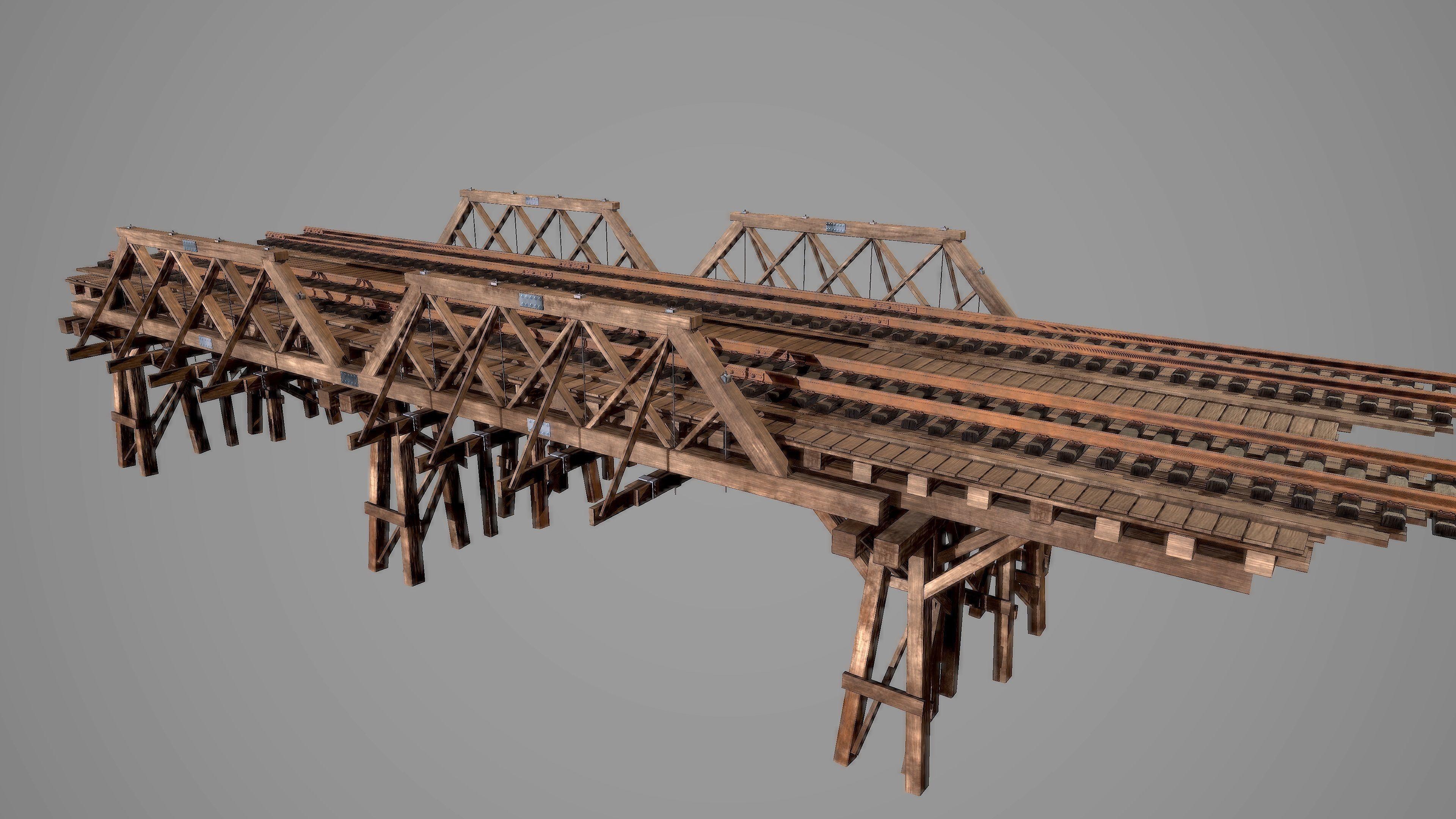 Wooden railway bridge