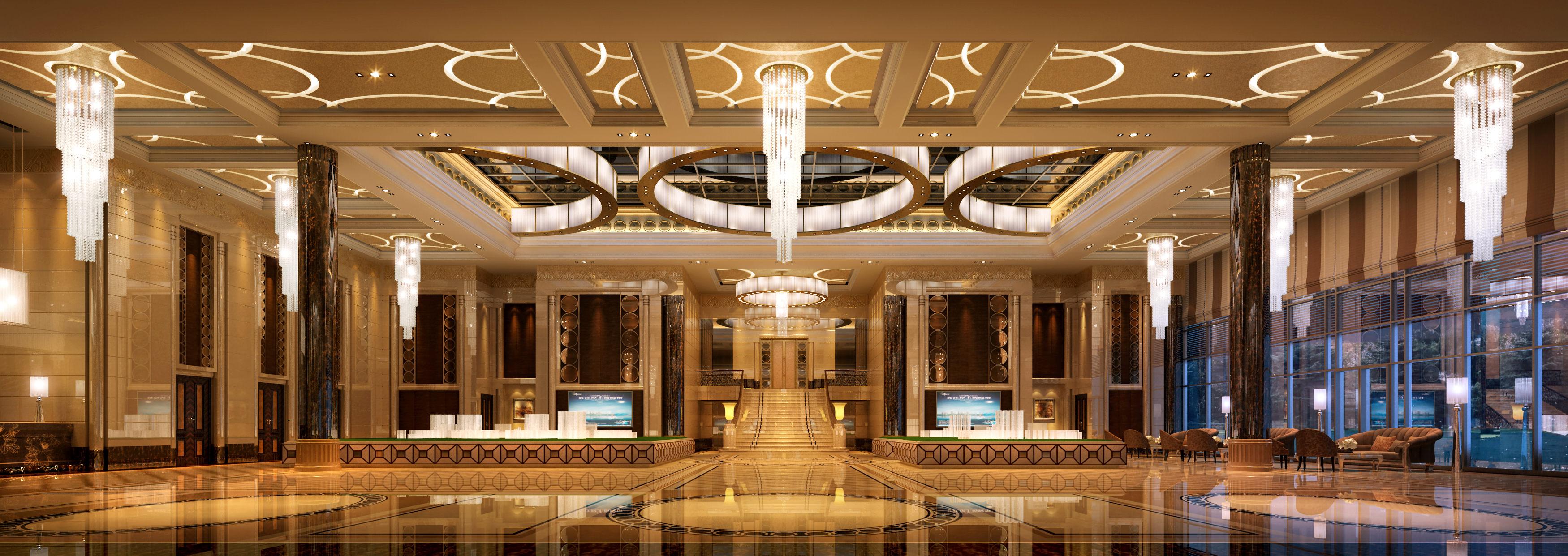 3d rendering luxury hotel lobby china luxury china hotel lobby - Huge Lobby 3d Model Max 1
