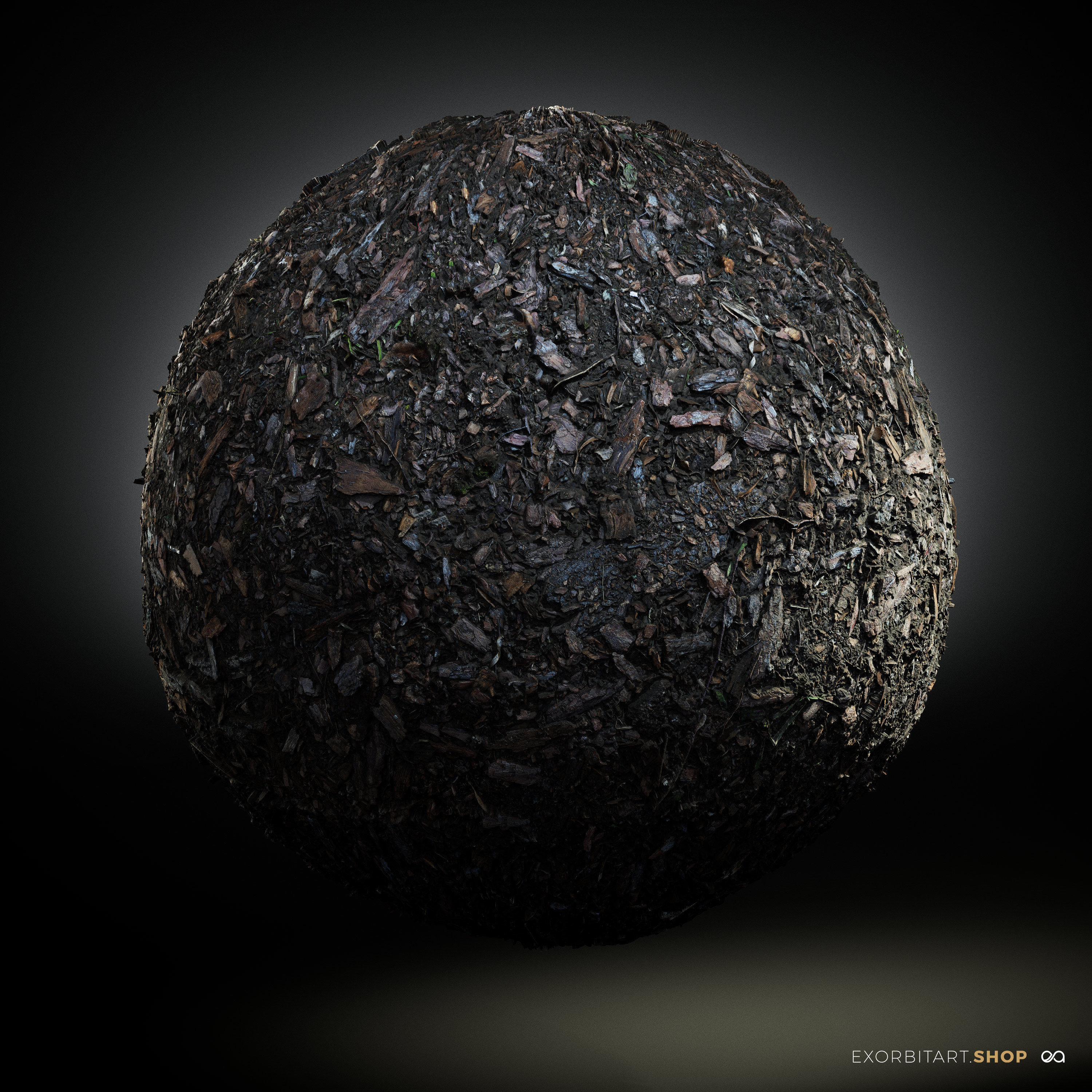 Scanned Seamless Wood Chips Ground PBR Textures