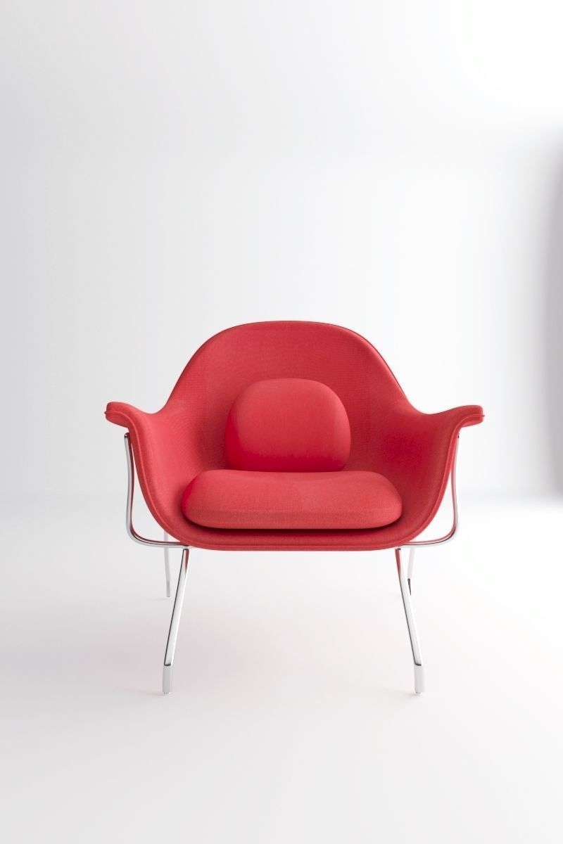 Red modernist Womb Armchair Knoll