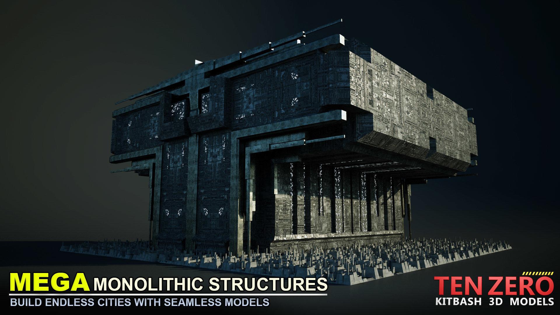 3D model FREE MEGA MONOLITHIC STRUCTURE SCI-FI KITBASH