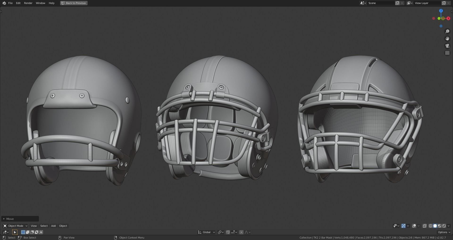 Various Football Helmets