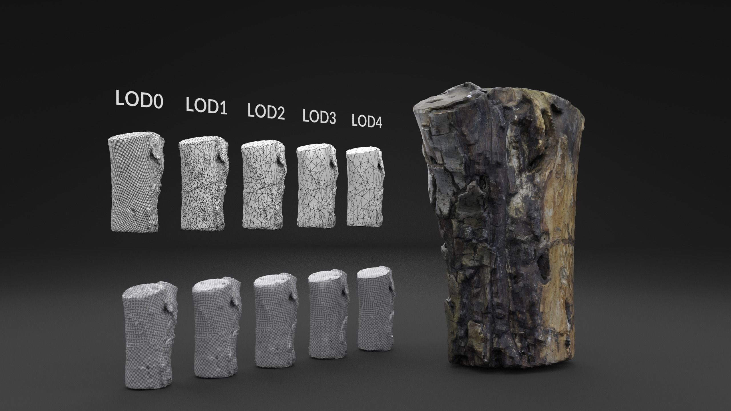 Scanned  Old Log LOW POLY LODs