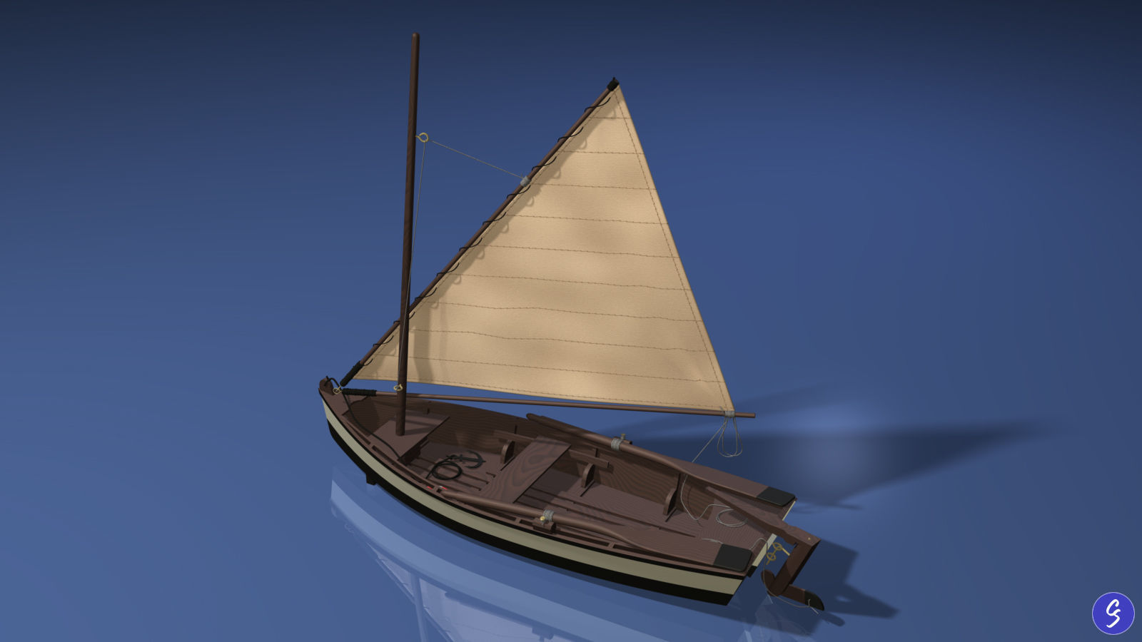Wooden Sailboat Scale Model