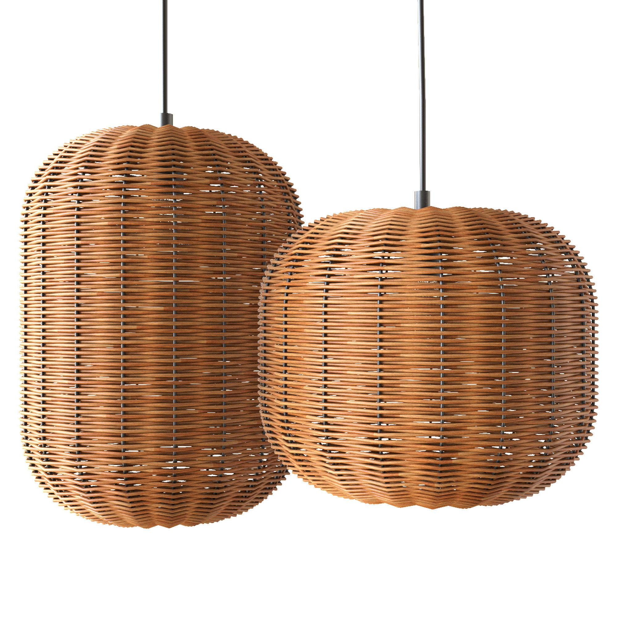 Rattan And Metal Ceiling Lamp