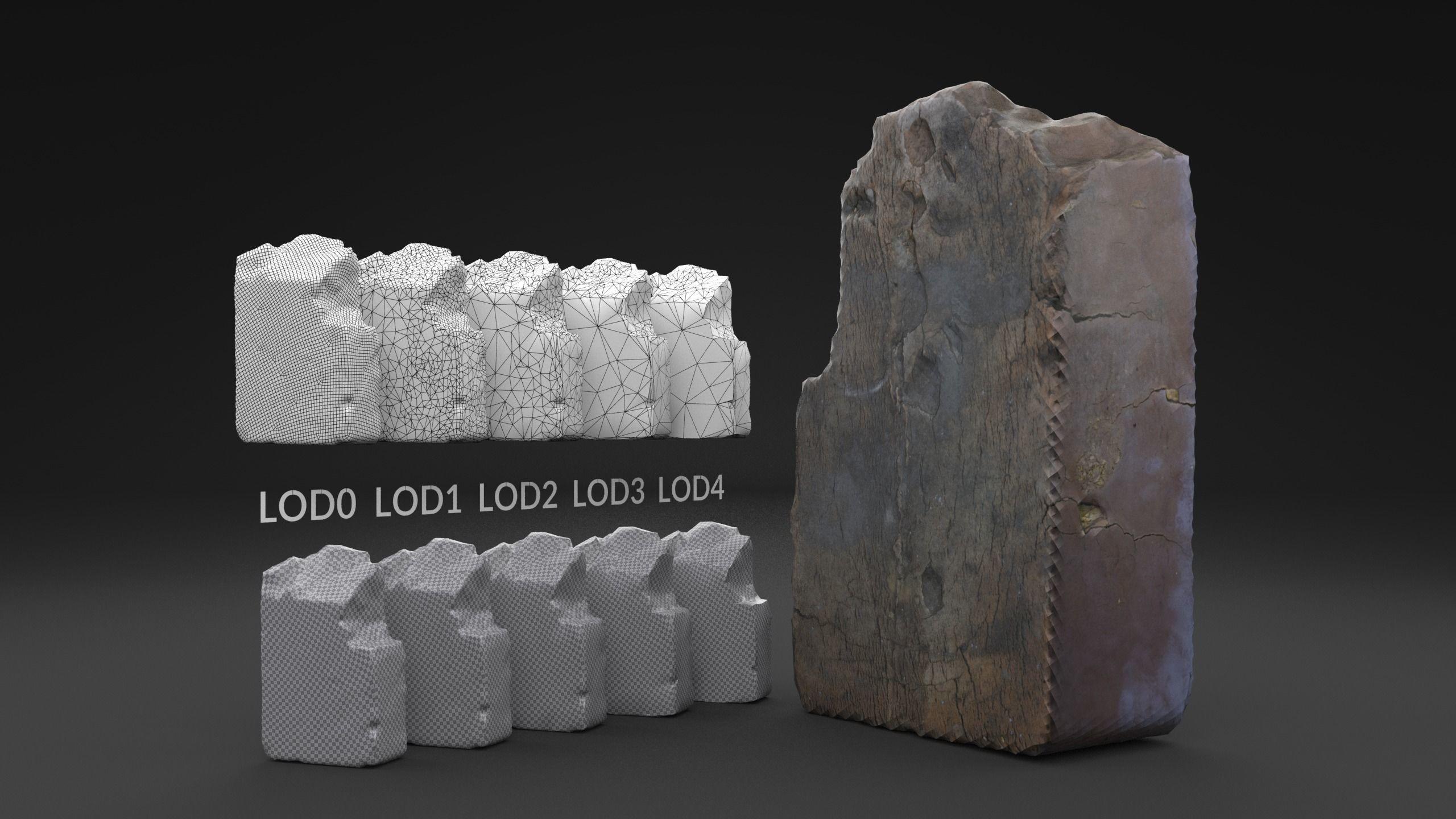 Scanned Broken Red Ceramic Brick LOW POLY LODs