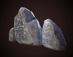 game-ready medieval runic stones 3d model