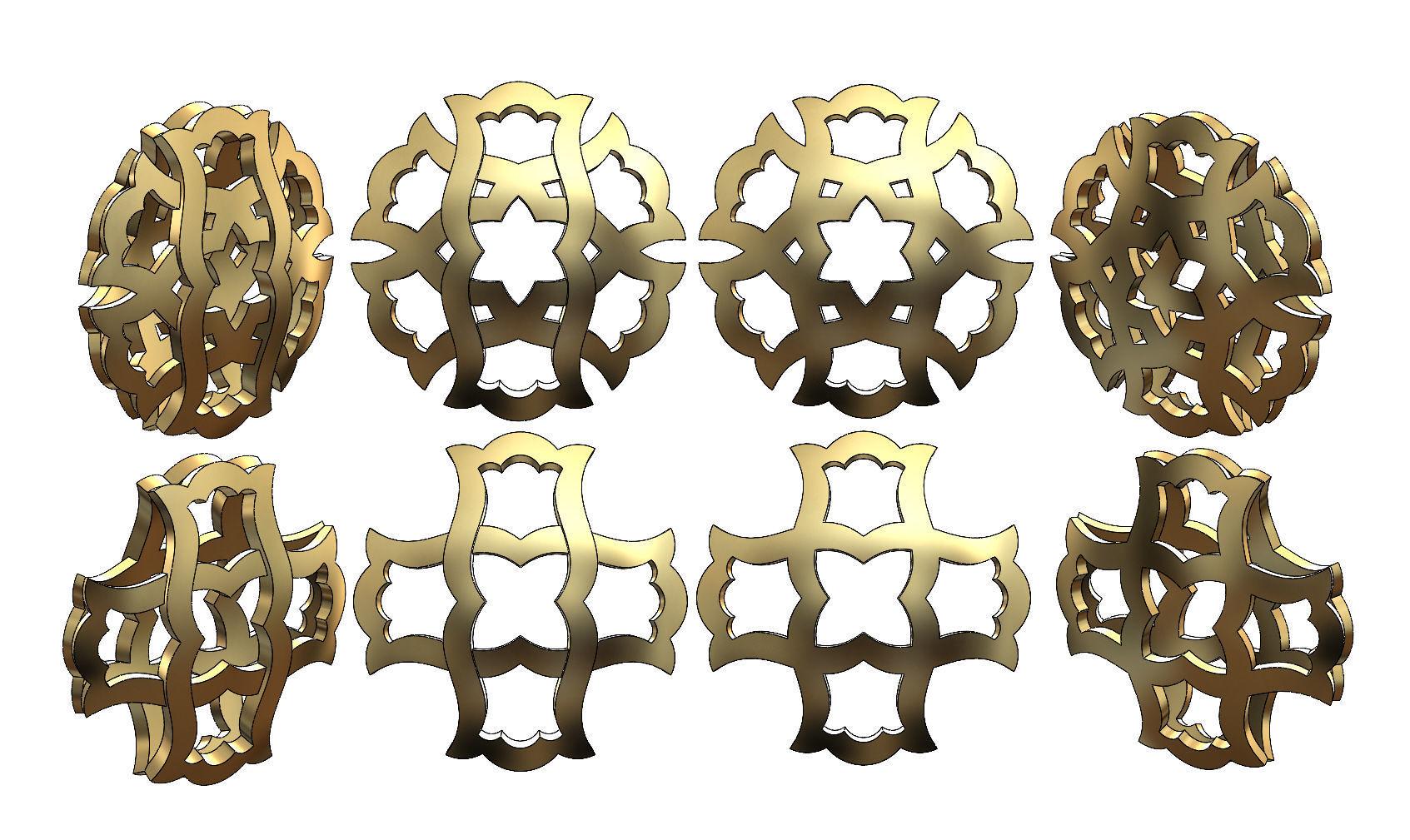 Double sided arabian pattern  pendants and earrings