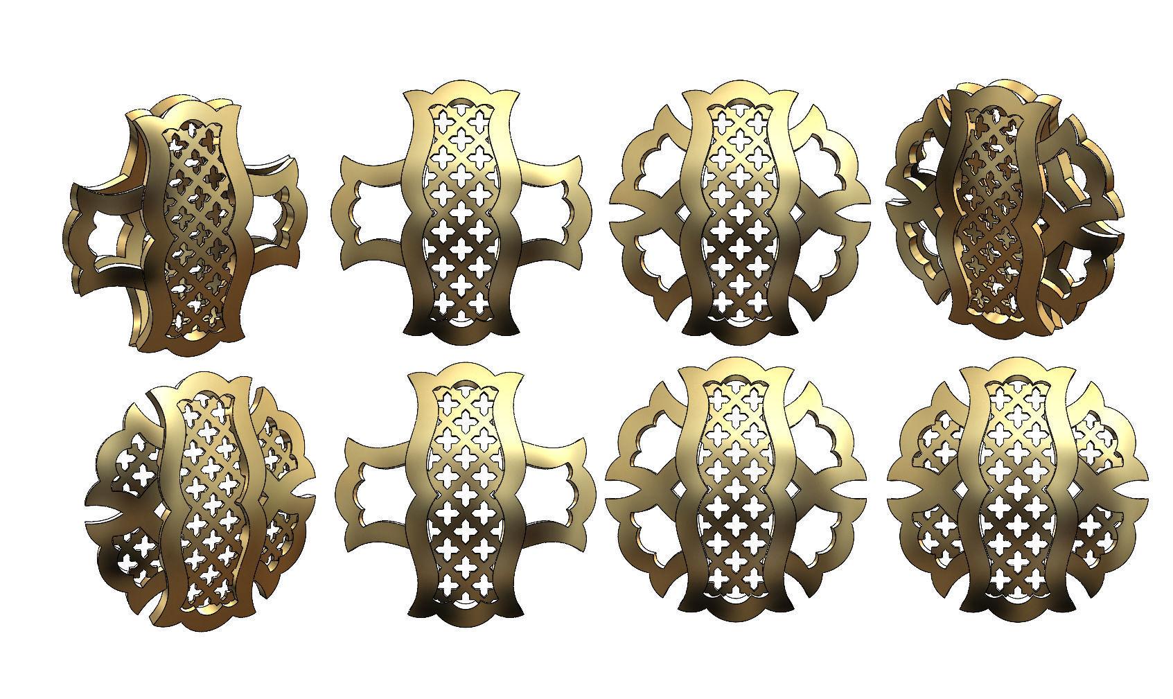 Variations on a arabian islamic pattern for pendants earrings