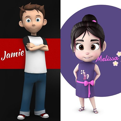 jamie and melissa combo pack 3d model max obj 3ds fbx ma mb 1