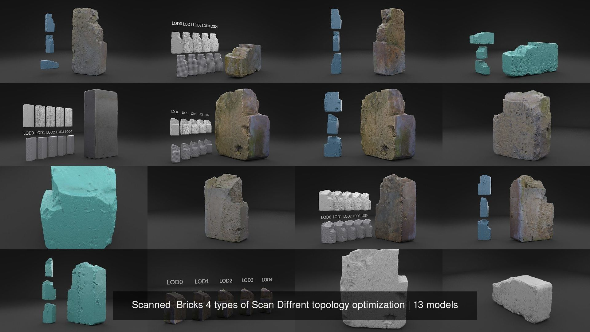 Scanned  Bricks 4 types of Scan Diffrent topology optimization