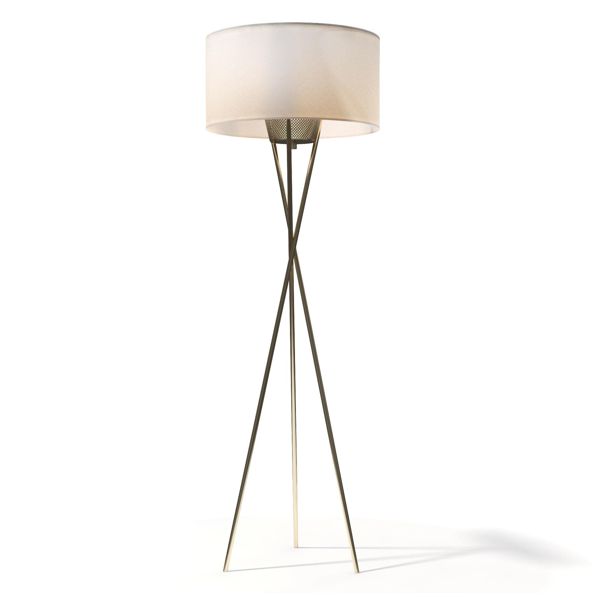 3d Model West Elm Mid Century Tripod Floor Lamp 2