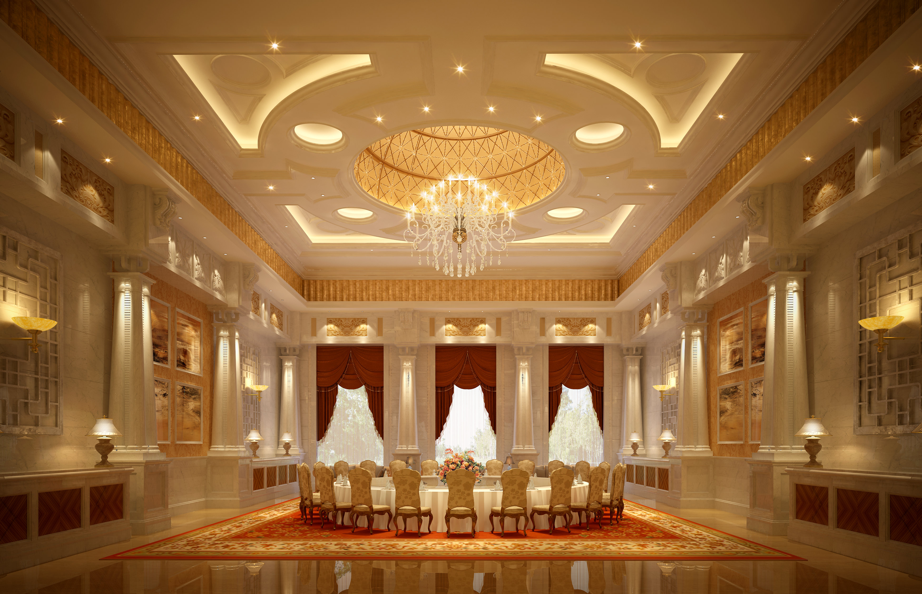 Luxury banquet hall interior 3d model max for Hall interior images