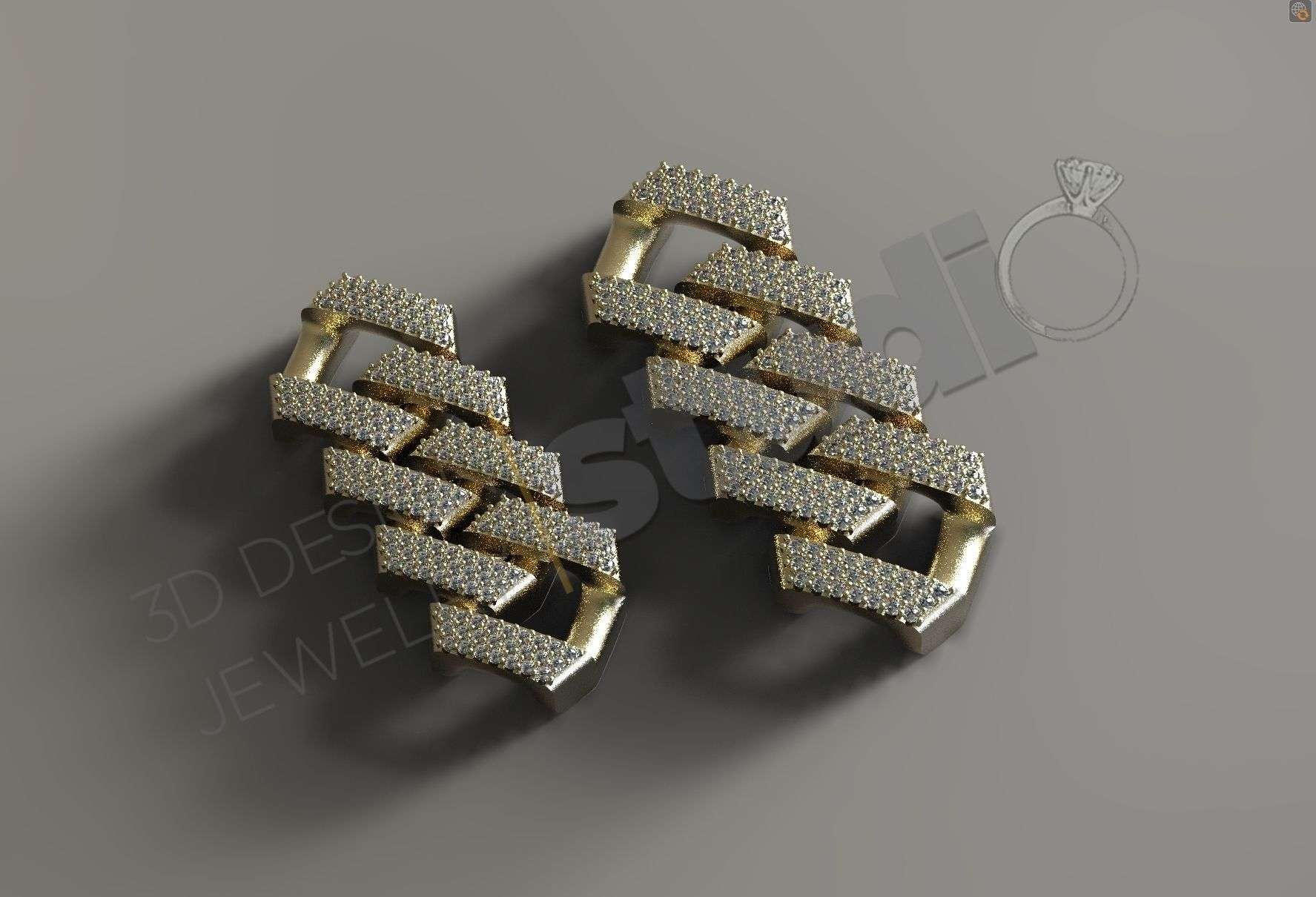 Cuban chainlink 3d model with and without stones