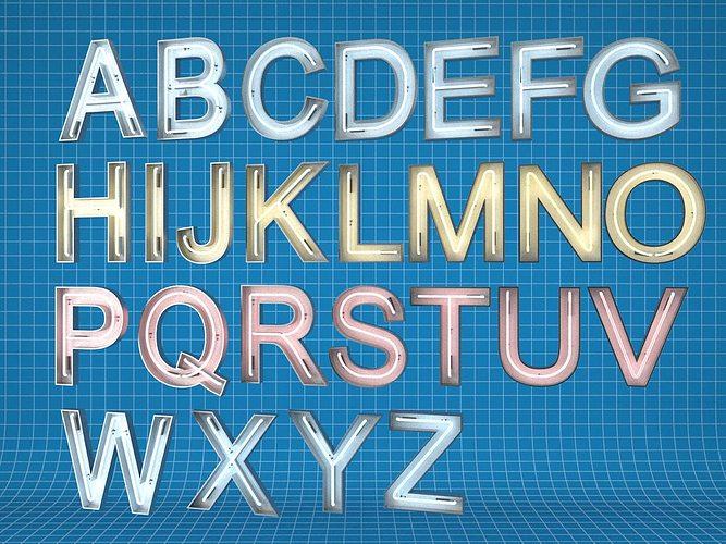 neon light letters 3d model max obj mtl fbx 1