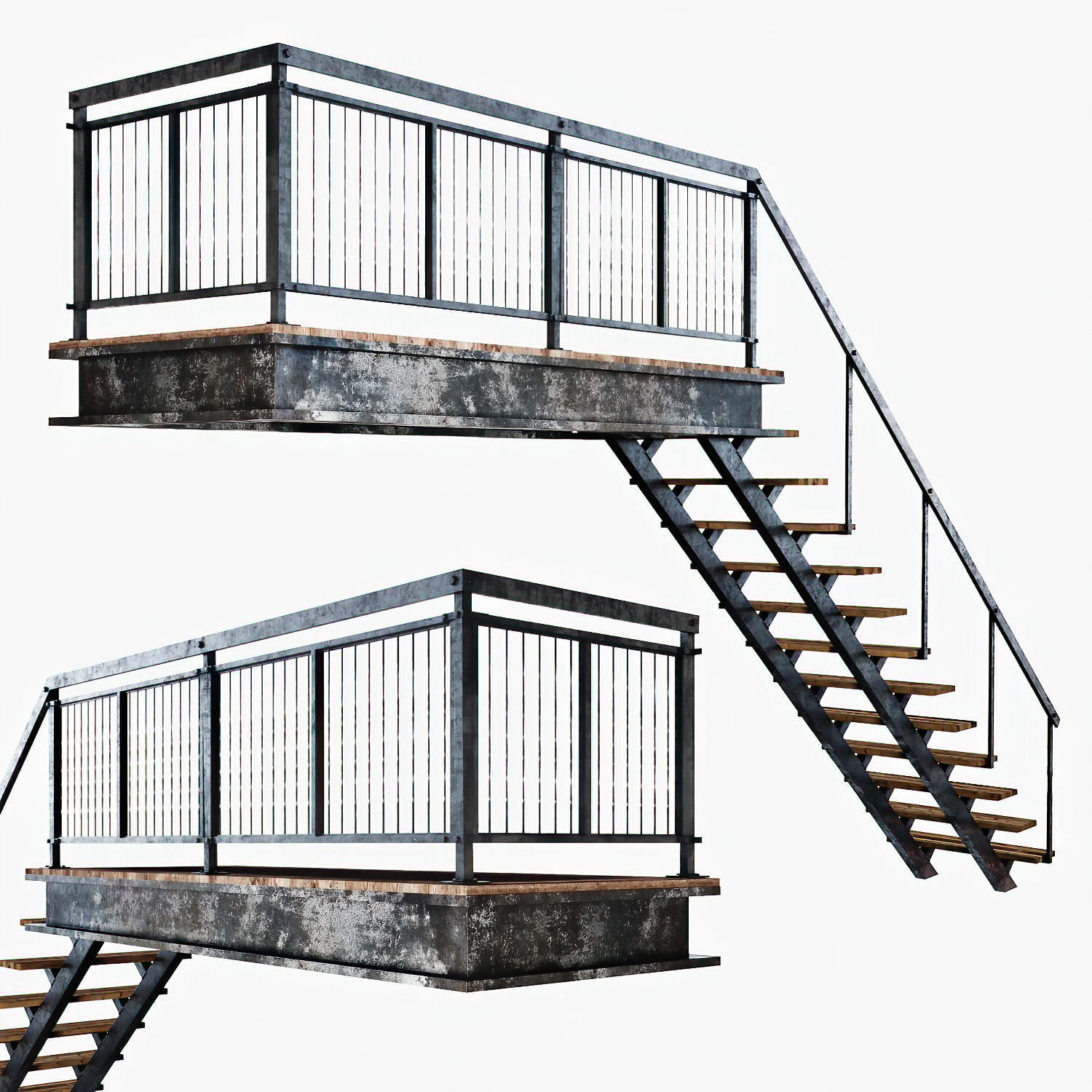 Metal stair with railing