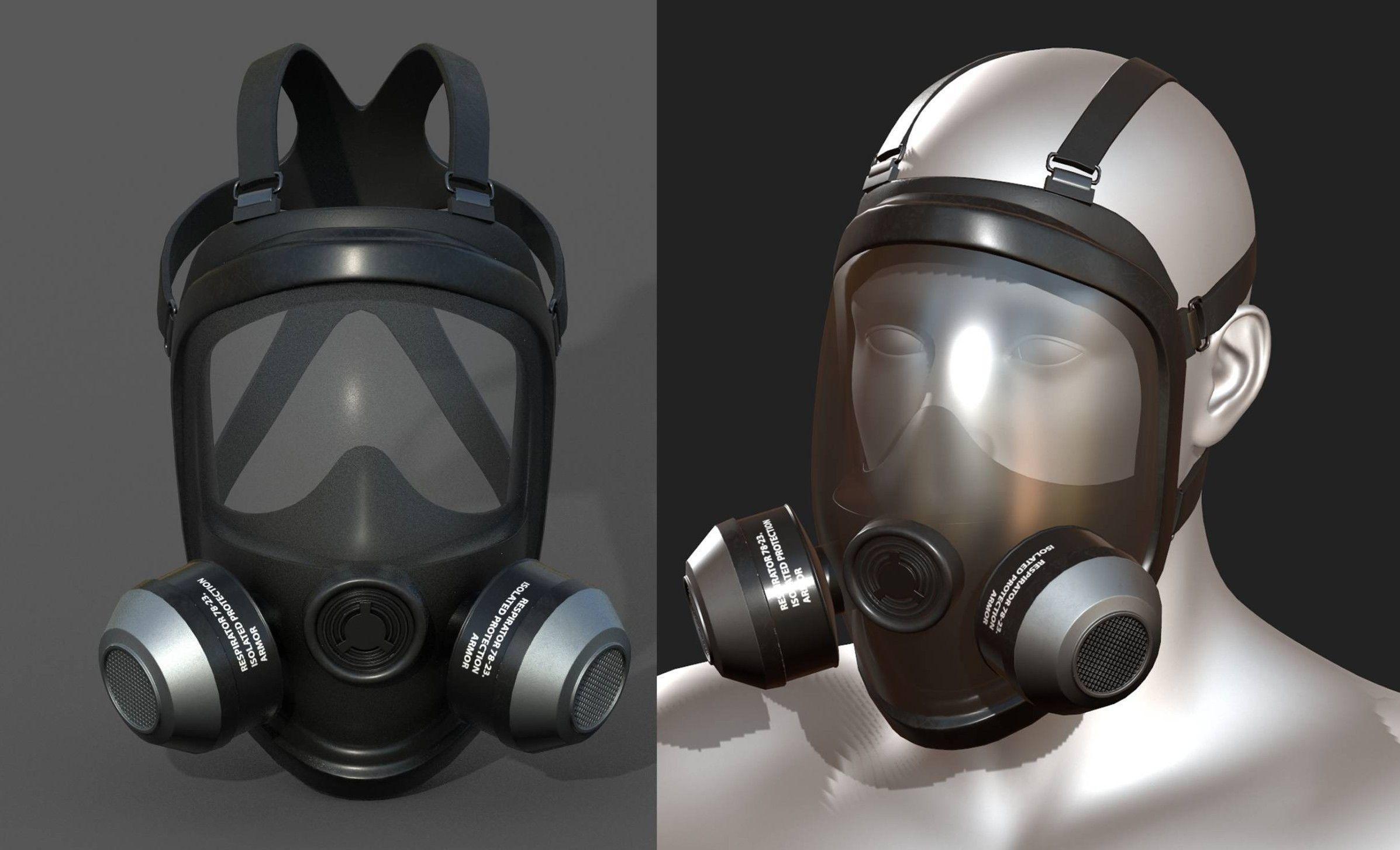 Gas mask helmet 3d model military combat low poly