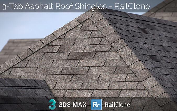 RailClone Preset of 3-tab Asphalt Roof Shingles for 3dsmax V-Ray
