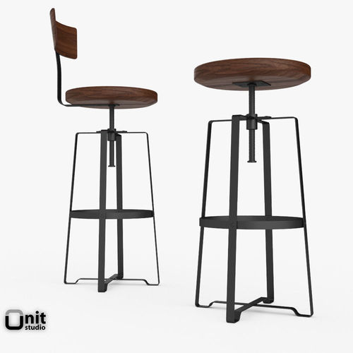 ... rustic industrial stool by west elm 3d model max obj 3ds fbx dwg 2 ...  sc 1 st  CGTrader.com & Rustic Industrial Stool by West Elm 3D | CGTrader islam-shia.org
