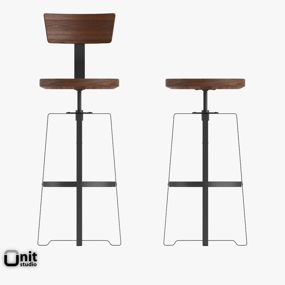 ... rustic industrial stool by west elm 3d model max obj 3ds fbx dwg 7 ...  sc 1 st  CGTrader.com & Rustic Industrial Stool by West Elm 3D | CGTrader islam-shia.org