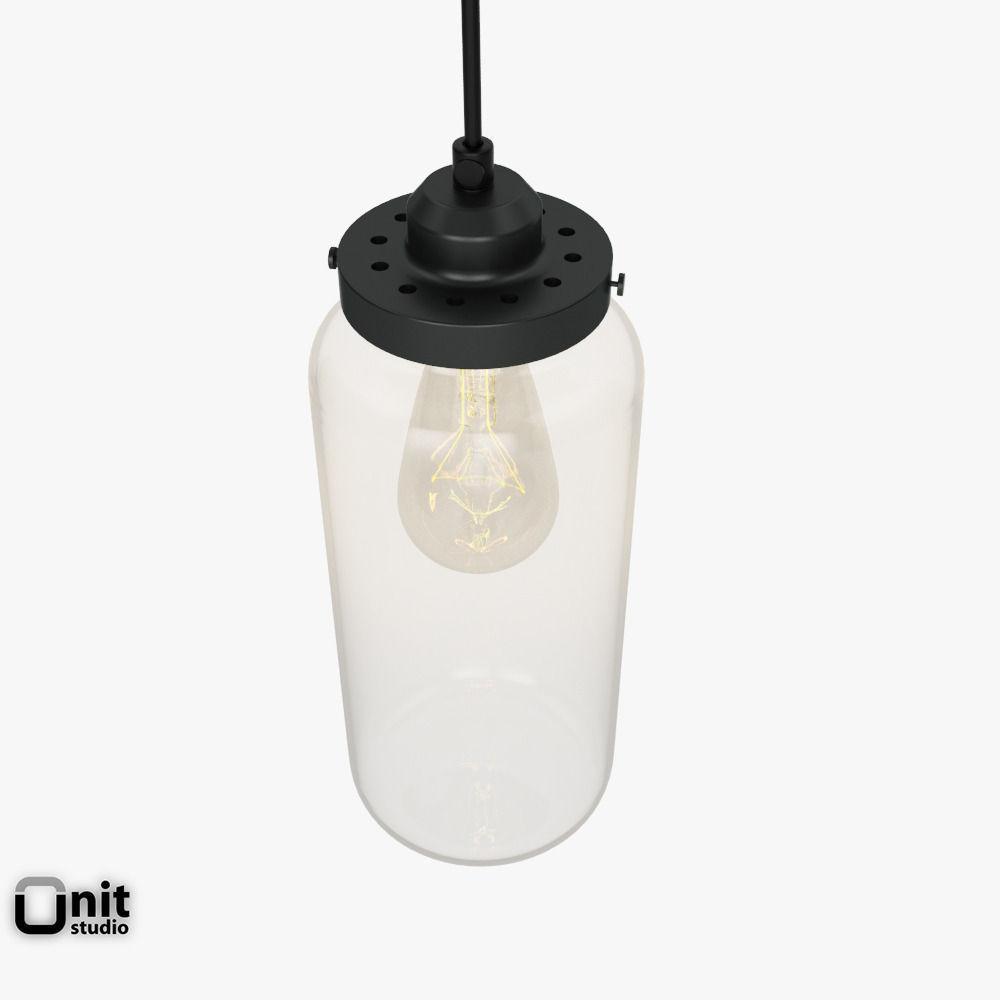 Glass Jar Pendant Light By West Elm 3D Model MAX OBJ 3DS FBX DWG