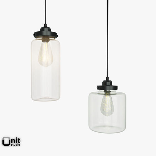Glass Jar pendant light by West Elm 3D model