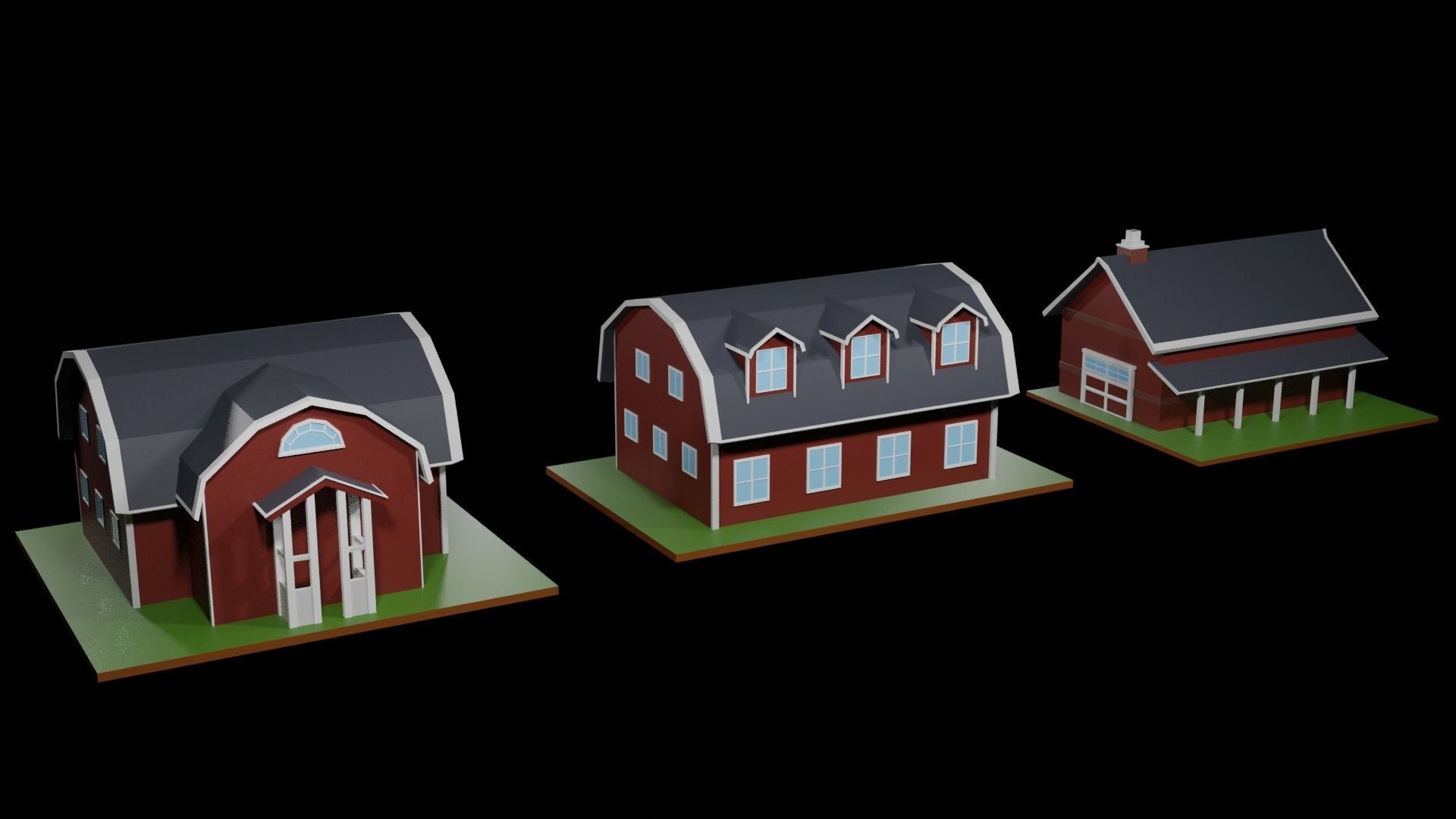 Low Poly Farmhouses Pack