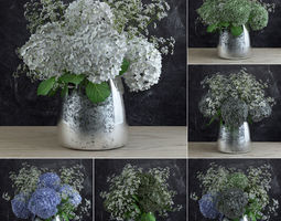 3D Bouquet of Gypsophila with Hyndrangeas