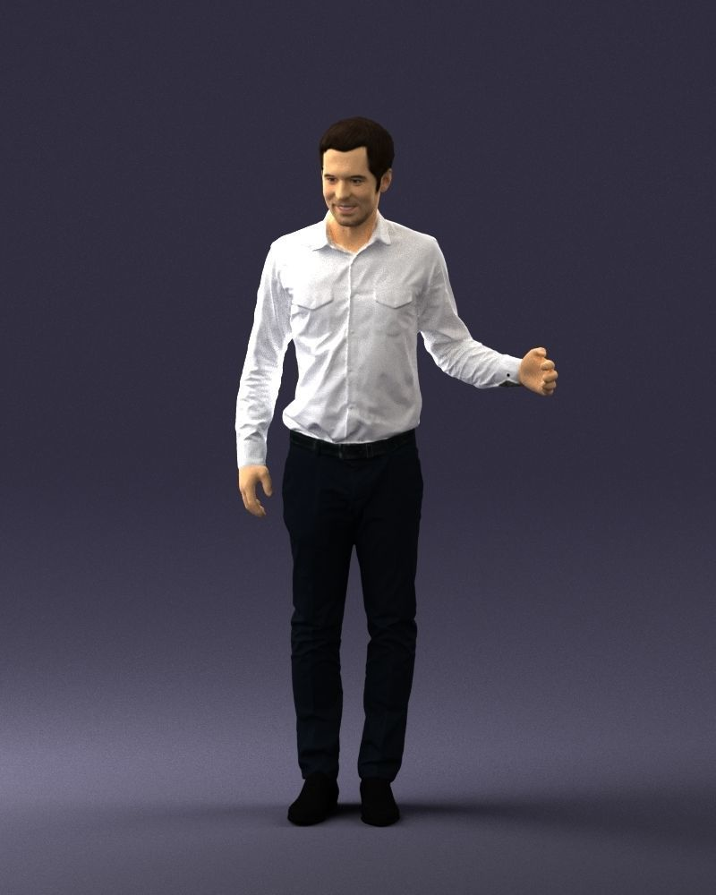 Hugging man in white shirt 0099 3D Print Ready