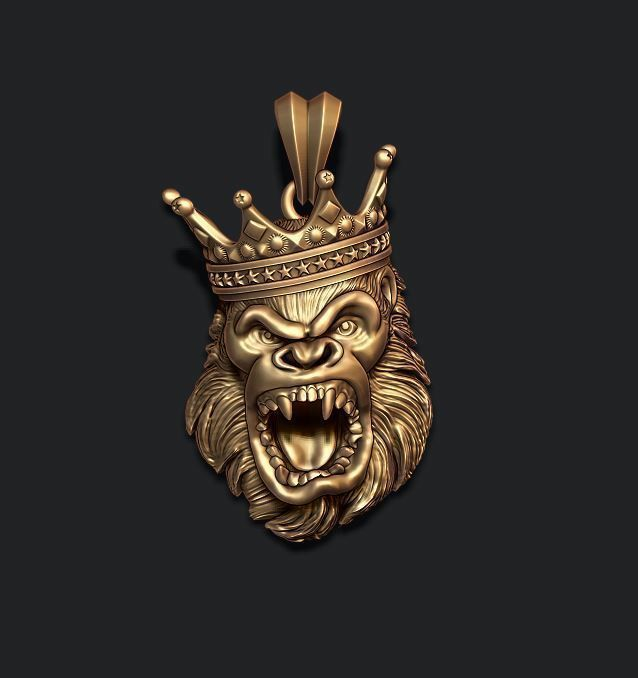 King Gorilla with crown pendant