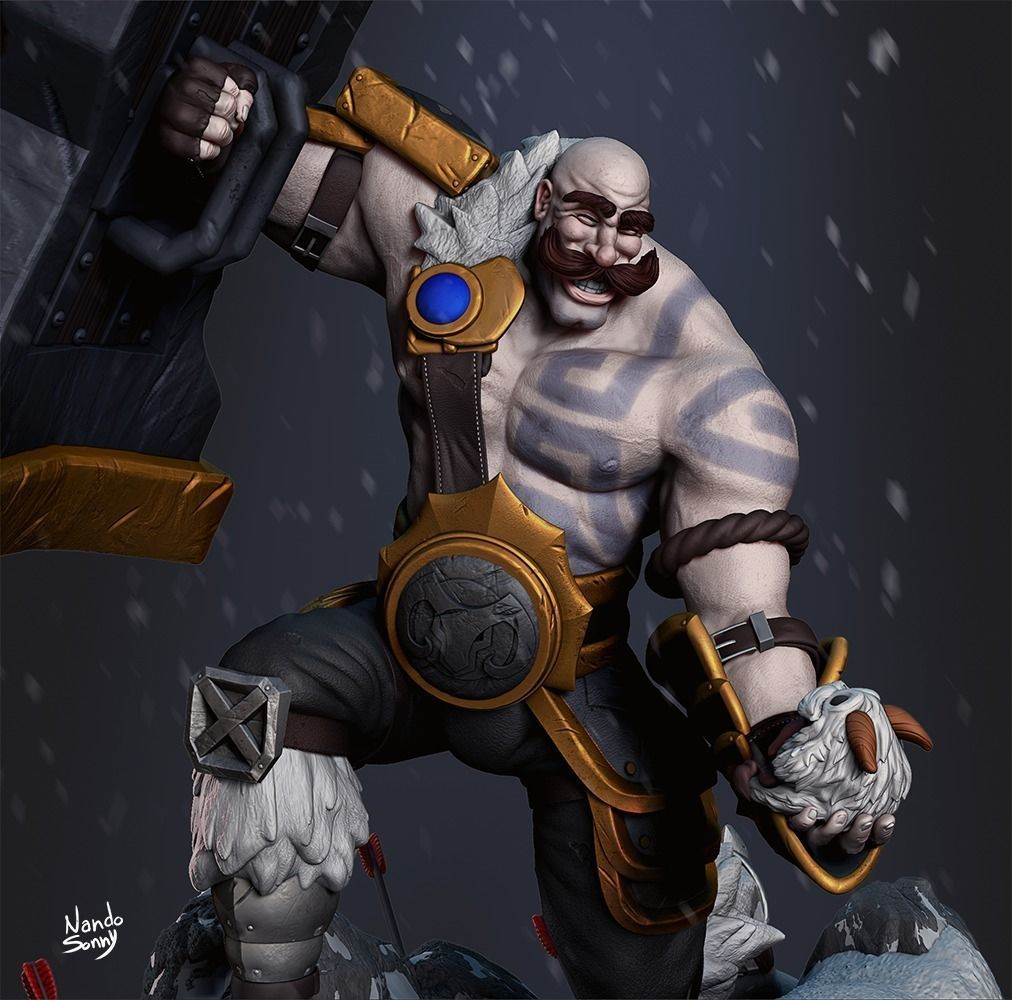 League of Legends - Braum saving Poro 3D print model