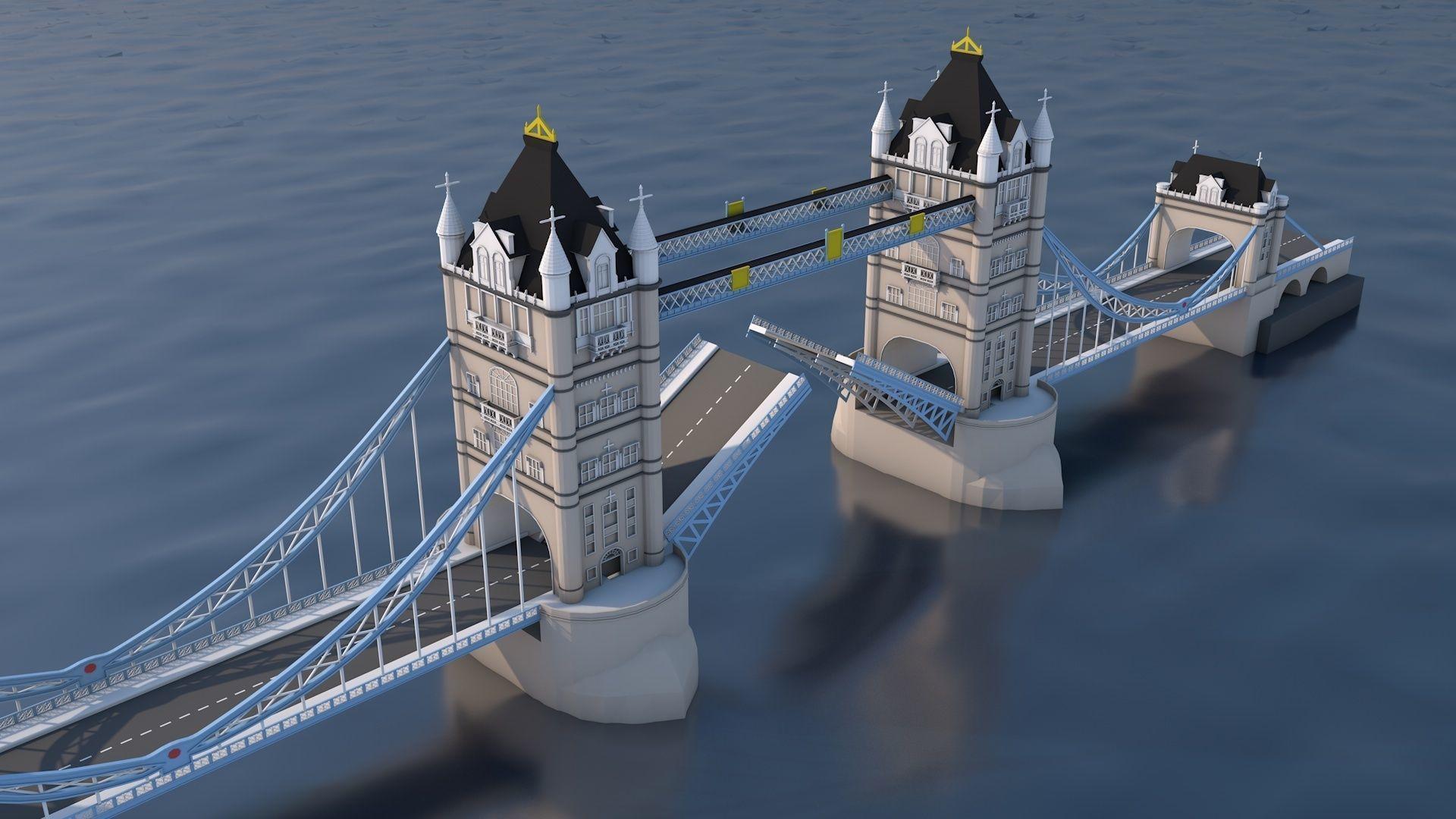 Low Poly London Tower Bridge Landmark