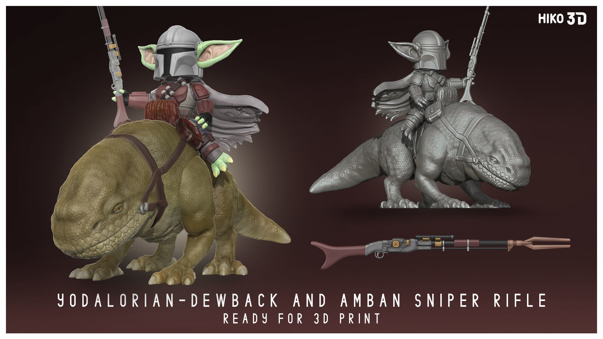 Yodalorian - Dewback - Child Mandalorian Baby Yoda 3D FanArt -