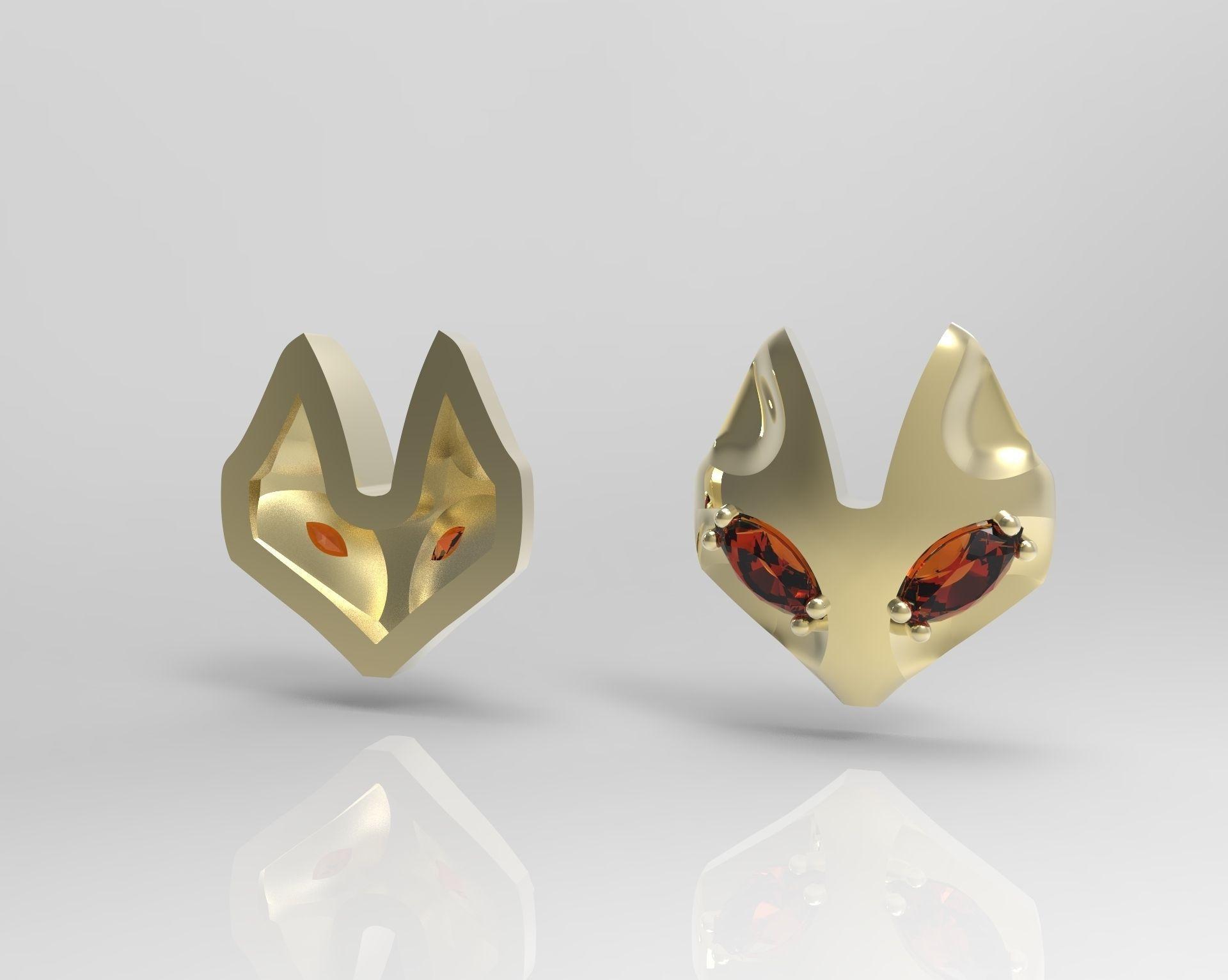 fox ring and pendant 3d model 3d printable stl 3dm