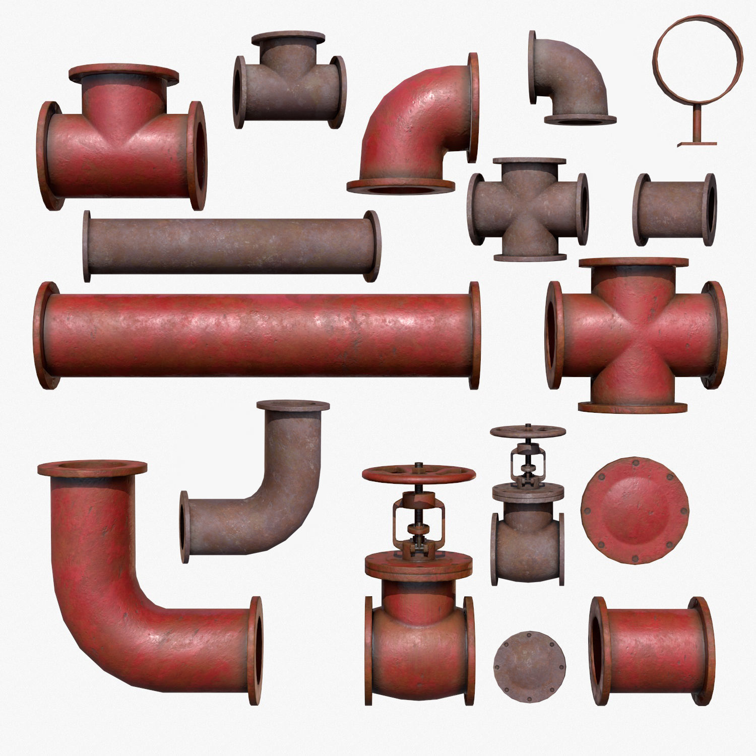 Industrial Pipes Low Poly