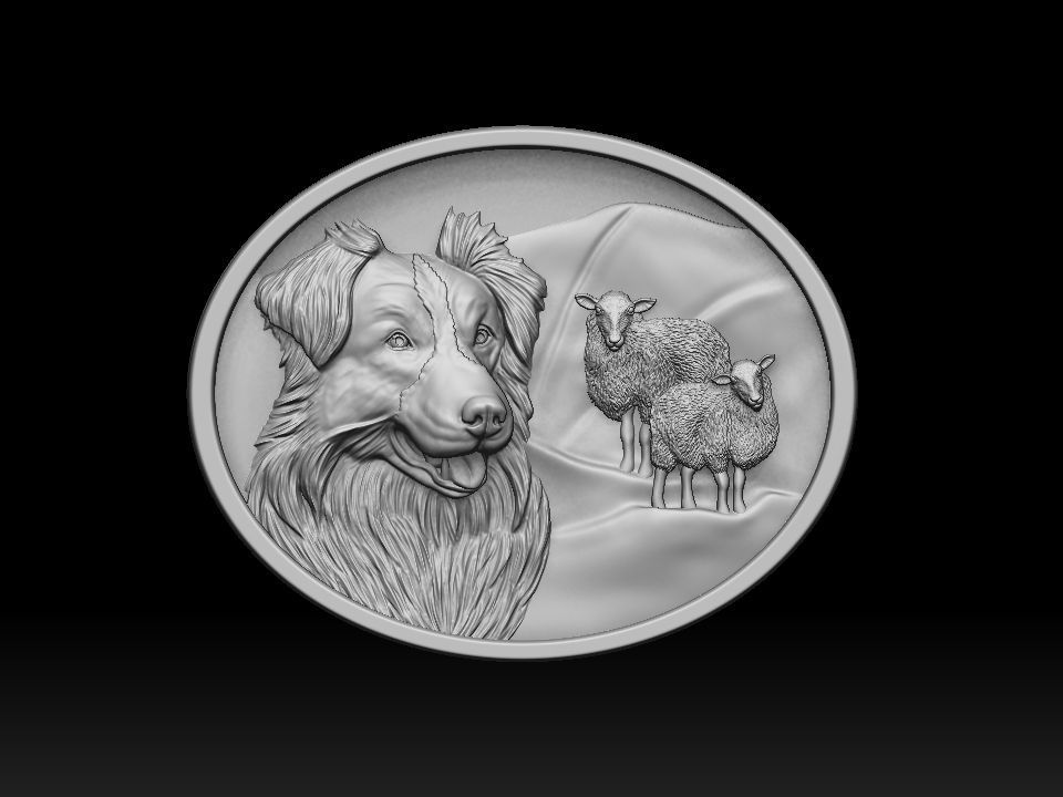 Border Collie with sheep pendant 3dprint model