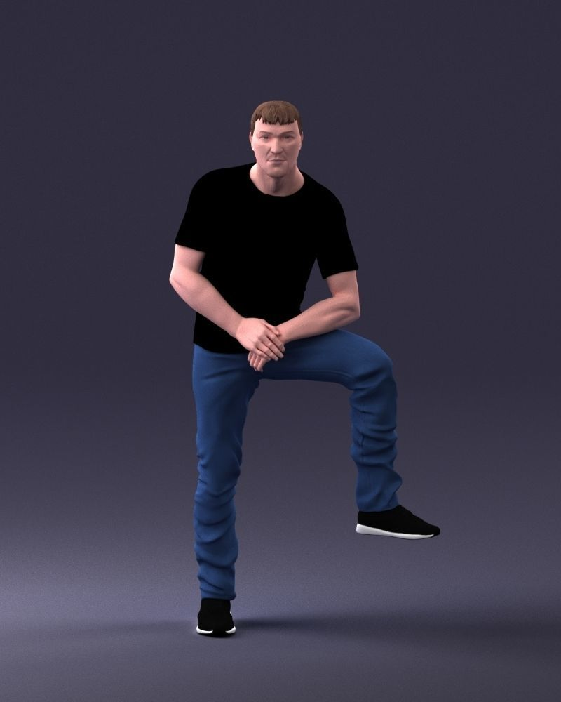 Man in black t-shirt and jeans 1201 3D Print Ready