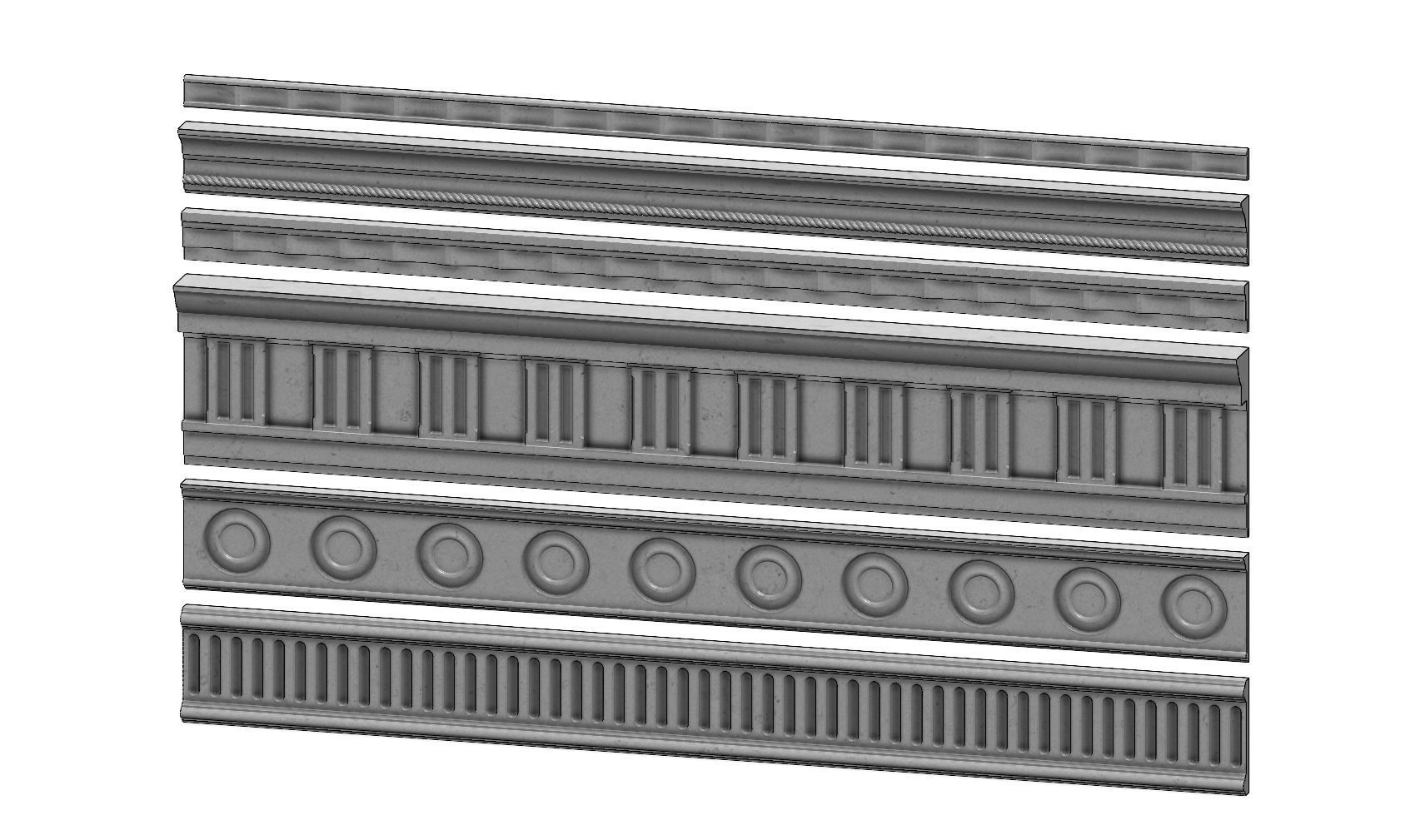 6 classical friezes for plaster and wood workings