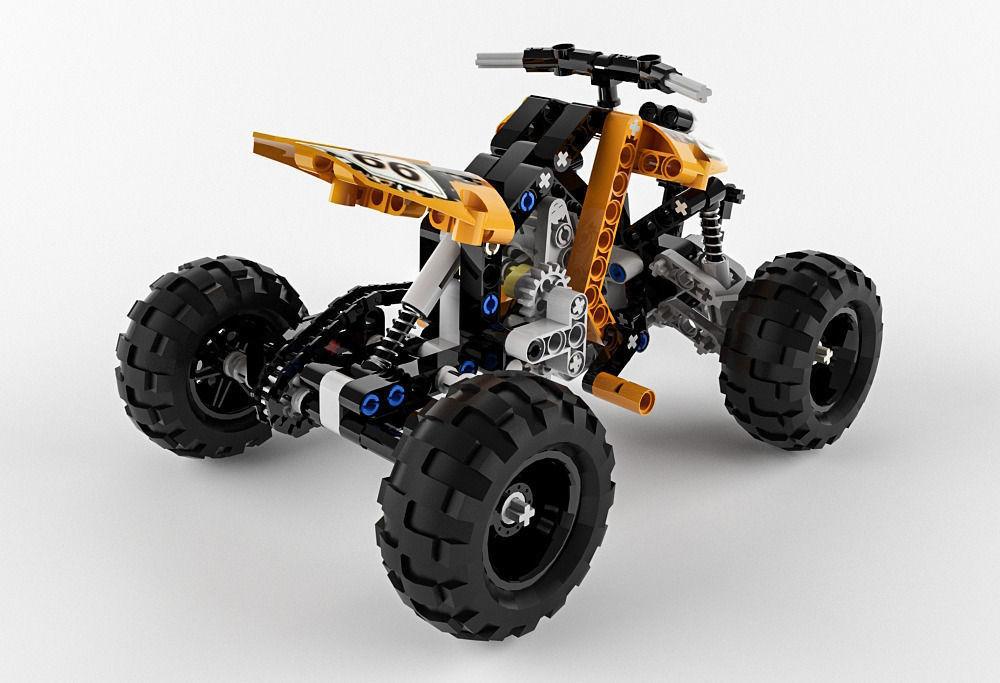 lego technic quad bike 3d model max obj fbx. Black Bedroom Furniture Sets. Home Design Ideas