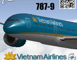 boeing 787-9 vietnam airlines livery 3d model animated realtime
